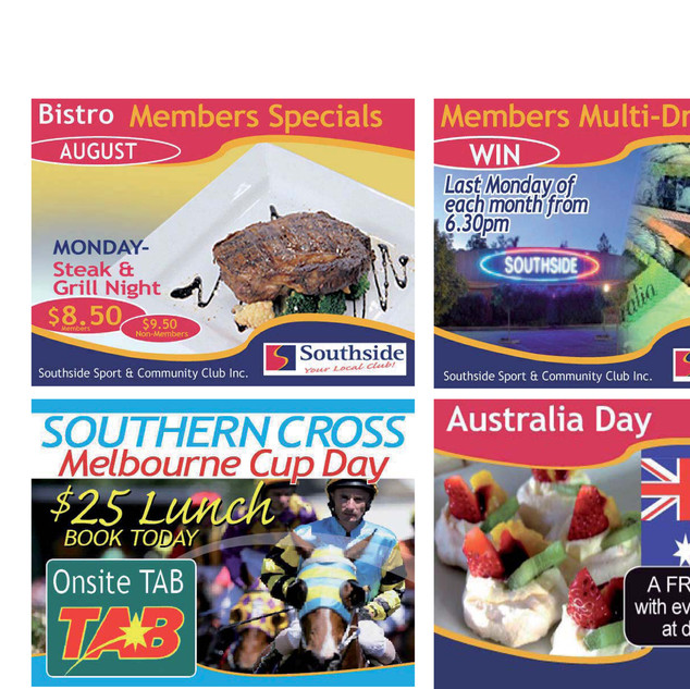 Internal video advertising for Southside Community Clubs