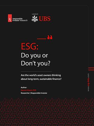 ESG - Do you or Don't you?