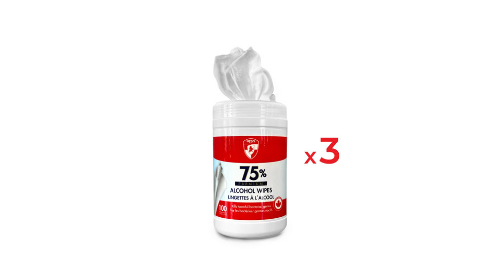 ALCOHOL WIPES 75% - 300 WIPES (3 TUBES)