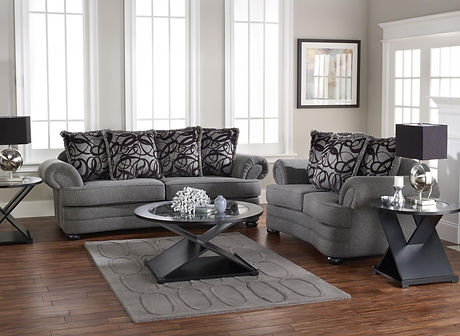 Classy-living-room-furniture-sets-applying-grey-color-with-oval-glass-table-on-thick-rug-and-furnish