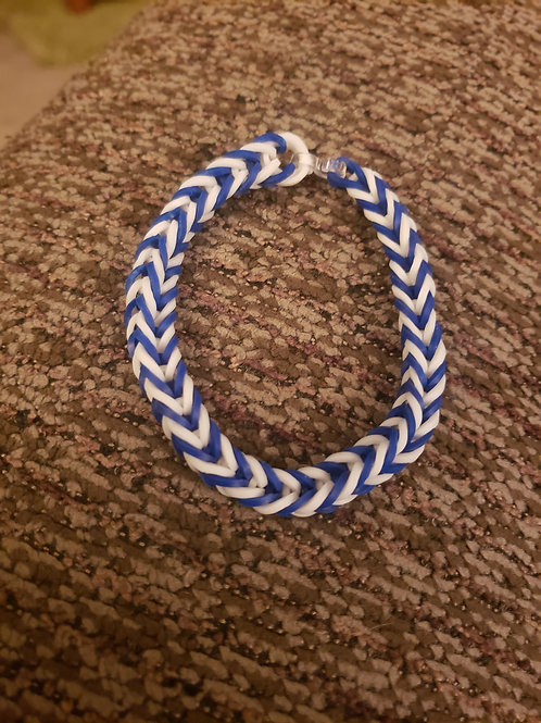 Stretchy Blue and White Bracelet