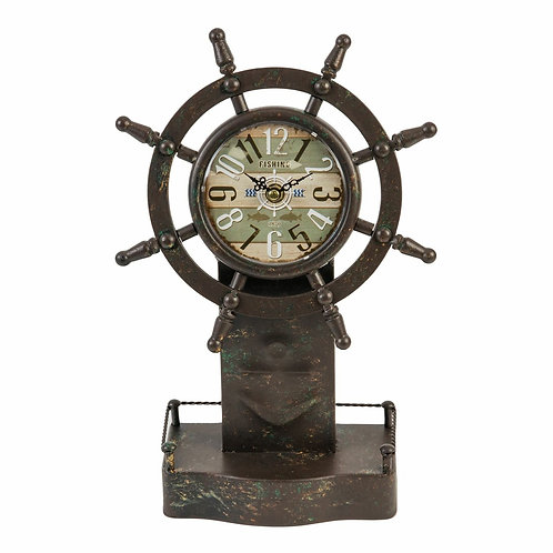 Hometime Mantel Clock Ships Wheel