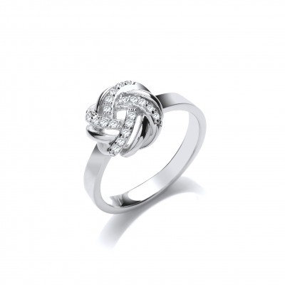 Silver and CZ Plaited Knot Ring