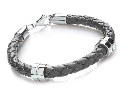 21cm Grey Leather + Stainless Steel Bracelet