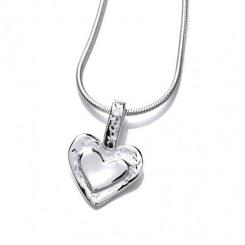 Silver Framed Heart Pendant without Chain