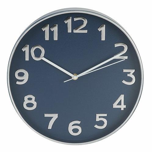 Hometime Plastic Case Wall Clock Silver & Blue 30.5cm