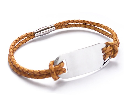 21cm Natural Leather and Stainless Steel ID Bracelet