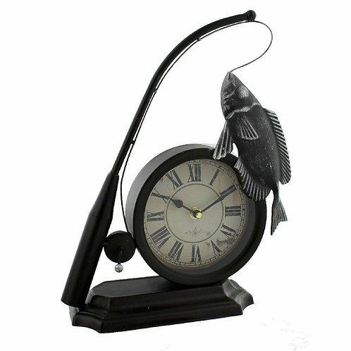 "Fishing Rod & Fish Metal 13"" Mantel Clock by Hometime"