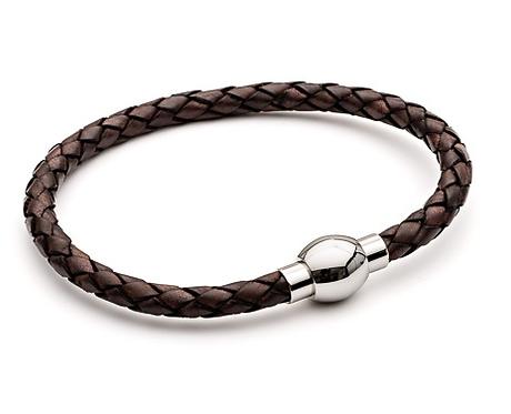 21cm Brown Leather Bracelet