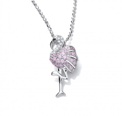 Silver and Pink CZ Flamingo Pendant without Chain