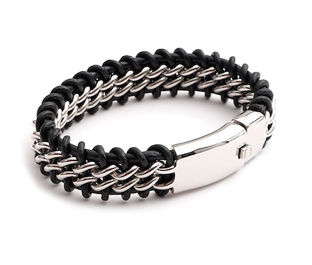 "9"" Stainless Steel and Leather Bracelet"