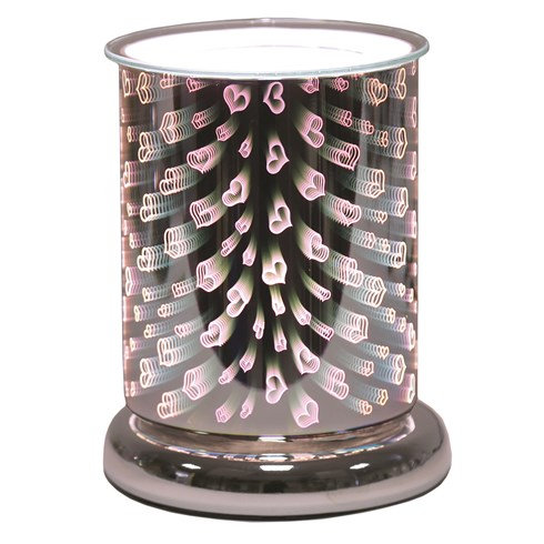 Cylinder 3D Electric Wax Melt Burner - Hearts