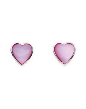 Pink Heart Mother Of Pearl Studs