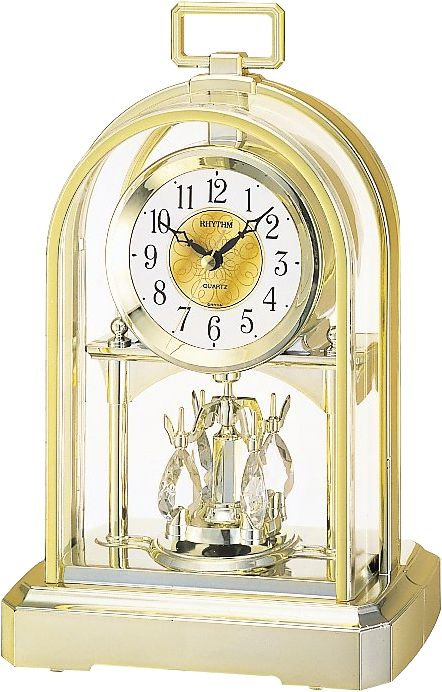 Mantel Clock Gold Tone Gilt Oblong Handle