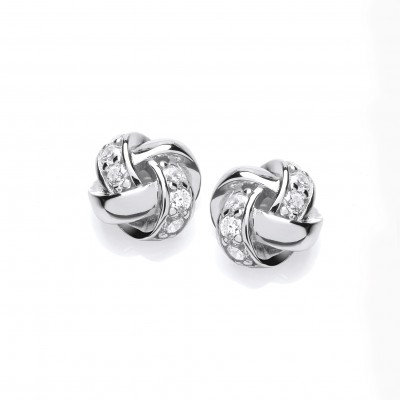Silver and CZ Plaited Knot Earrings