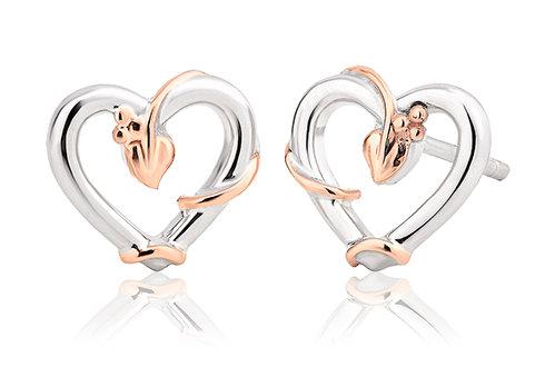 Tree of Life Vine Heart Stud Earrings