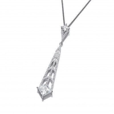 Silver and CZ Deco Style Chandelier Pendant without Chain