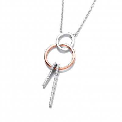 Silver, Rose Gold and CZ Sweet Dreams Necklace