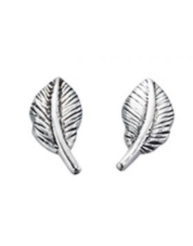Silver Feather Studs
