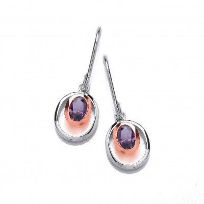 Silver and Amethsyt CZ Rennie Mackintosh Style Earrings
