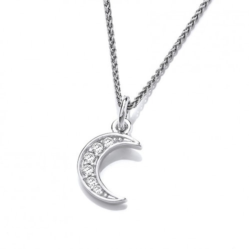 Silver and CZ Crescent Moon Pendant without Chain