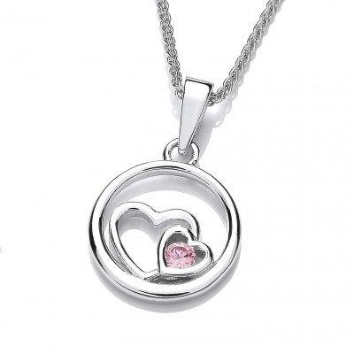Pink Diamond CZ Heart Pendant without Chain
