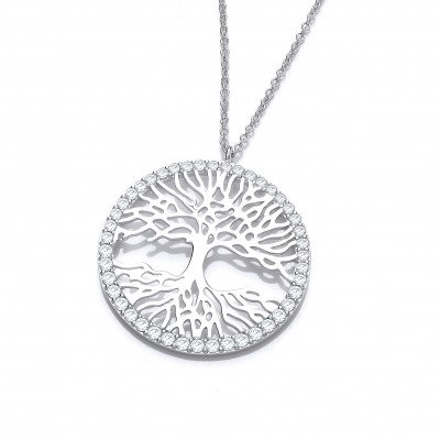 Silver Reflected Tree of Life Necklace