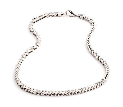 """20"""" Stainless Steel Squared Wheat Link Necklace"""