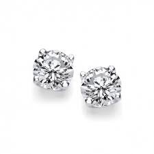 Sterling Silver Simple Cubic Zirconia Solitaire Stud Earrings