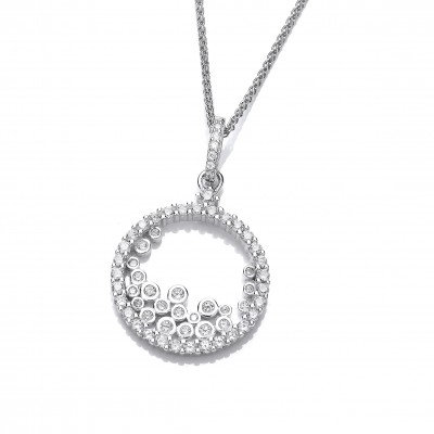 Silver and Tumbling CZ's Pendant without Chain