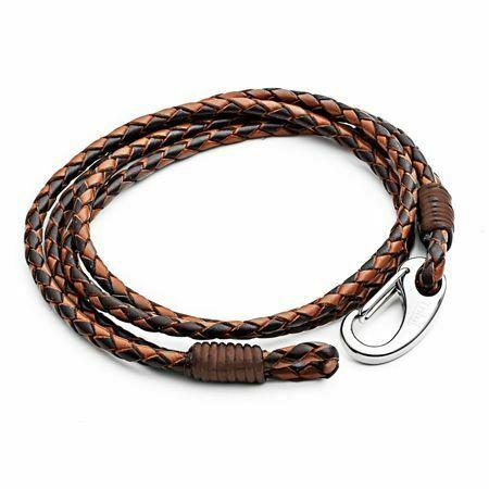 21cm Brown 2-Strand Leather Bracelet