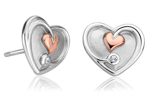 Tree of Life White Topaz Heart Stud Earrings