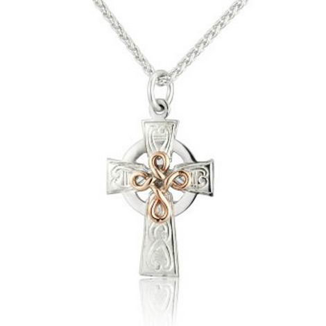 Celtic Cross Pendant with Gold Knot