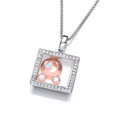 Mini Square Celestial Pendant with Rose Gold Moons without Chain