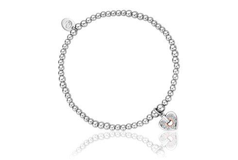 Cariad Sparkle Heart Affinity Bead Bracelet 17-18cm