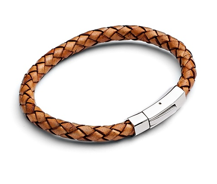 21cm Natural Plaited Bolo Leather Bracelet