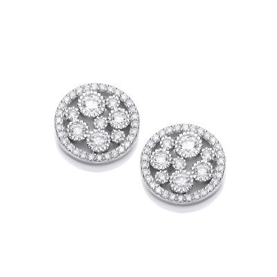 Silver and CZ Mini Galaxy Earrings