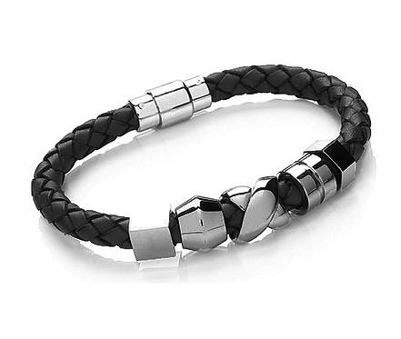 21cm Black Leather Bracelet with Charms