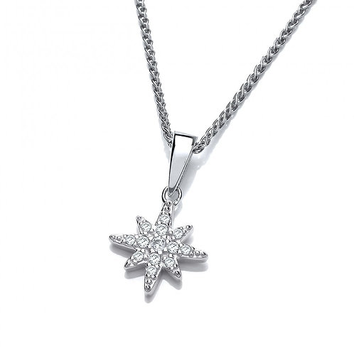 Silver & CZ Brilliant Star Pendant without chain