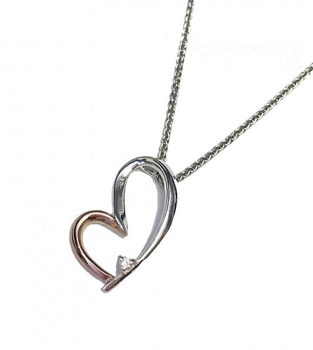 Silver and Rose Gold Happy Heart Pendant without Chain