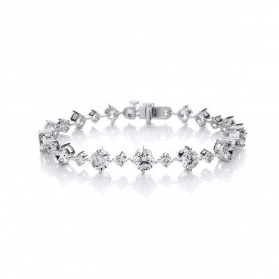 Silver and CZ Stunning Graduated Bracelet