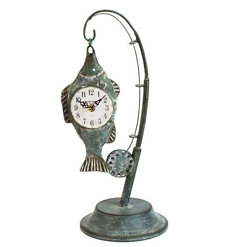 Hometime Metal Mantel Clock - Fishing Rod with Fish 48cm