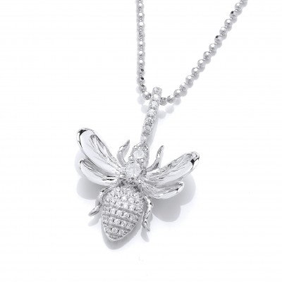 Cubic Zirconia Honey Bee Pendant without Chain