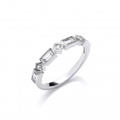 Emerald and Princess Cut Cubic Zirconia Band Ring
