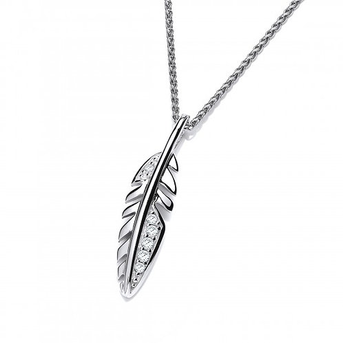 Cute Silver and CZ Feather Pendant without Chain
