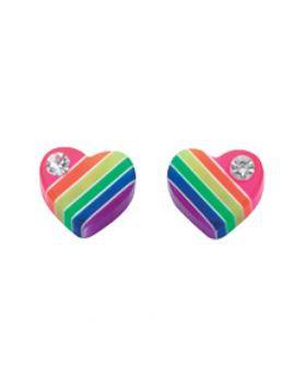 Rainbow Heart Studs