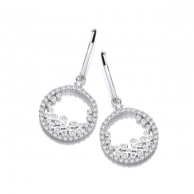 Silver and Tumbling CZs Earrings