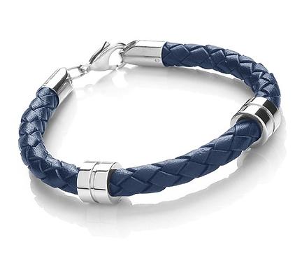 21cm Blue Leather + Stainless Steel Bracelet