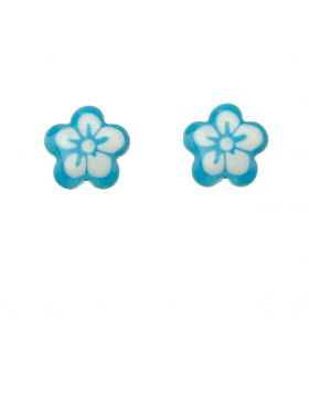 White/Blue Flower Studs