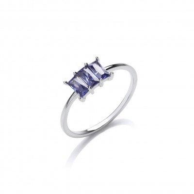 Silver and Tanzanite CZ Triple Baguette Ring